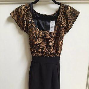 Express Leopard & Black Sheath Dress Sz 0